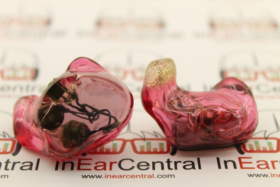 Dual Dynamic Driver Custom IEM Red Shells Grey Caps Gold Glitter Tip